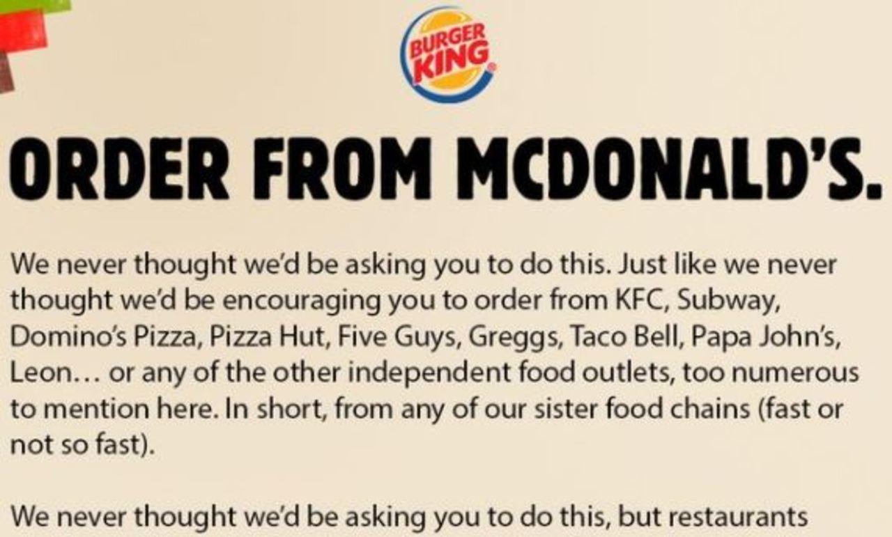 Covid, l'appello alla solidarietà di Burger King su Twitter: