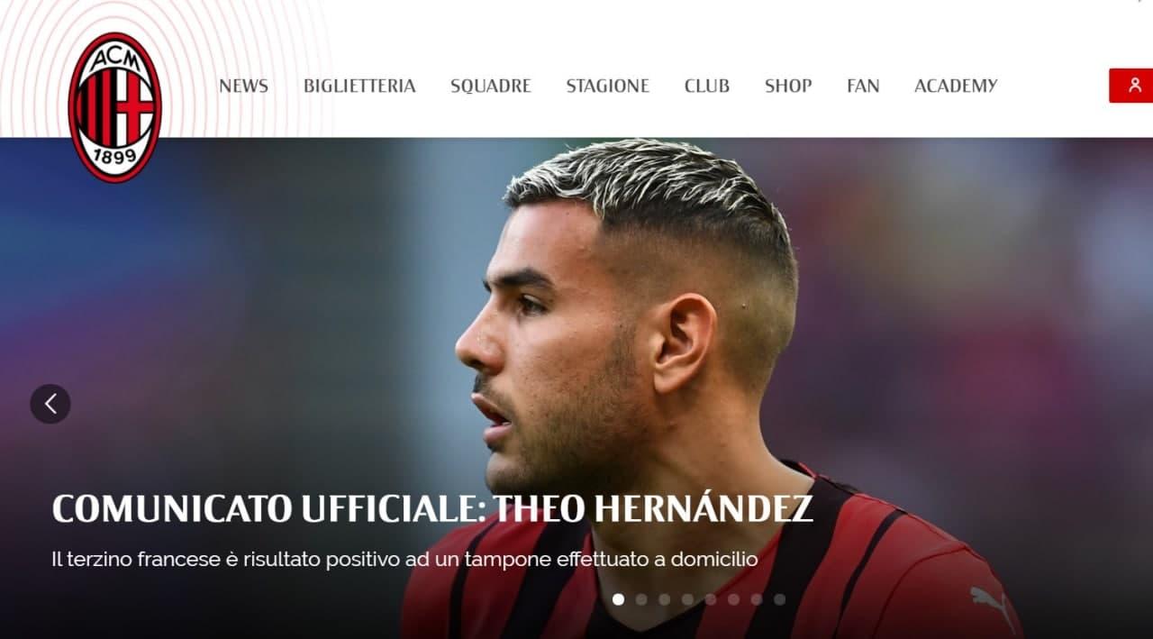Theo Hernandez è positivo al Covid: il comunicato del Milan